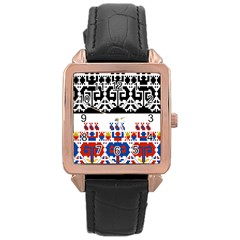 Bulgarian Folk Art Folk Art Rose Gold Leather Watch  by Celenk