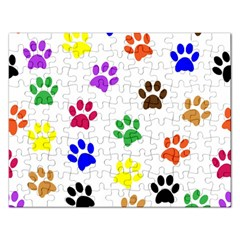 Pawprints Paw Prints Paw Animal Rectangular Jigsaw Puzzl by Celenk