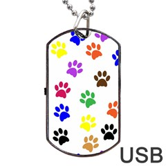 Pawprints Paw Prints Paw Animal Dog Tag Usb Flash (one Side) by Celenk