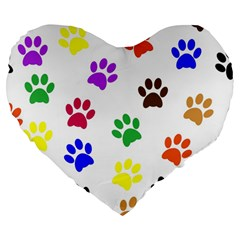 Pawprints Paw Prints Paw Animal Large 19  Premium Heart Shape Cushions by Celenk