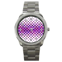 Pattern Square Purple Horizontal Sport Metal Watch by Celenk