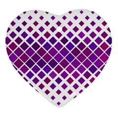 Pattern Square Purple Horizontal Heart Ornament (two Sides) by Celenk