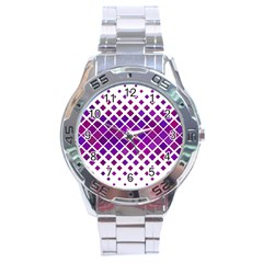 Pattern Square Purple Horizontal Stainless Steel Analogue Watch by Celenk