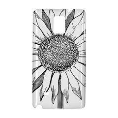 Sunflower Flower Line Art Summer Samsung Galaxy Note 4 Hardshell Case by Celenk