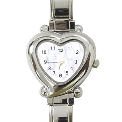Marble Texture White Pattern Heart Italian Charm Watch by Celenk