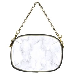 Marble Texture White Pattern Chain Purses (one Side)  by Celenk