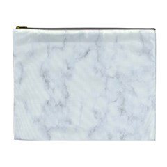 Marble Texture White Pattern Cosmetic Bag (xl) by Celenk