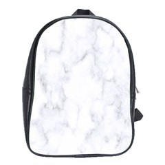 Marble Texture White Pattern School Bag (xl) by Celenk