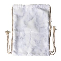 Marble Texture White Pattern Drawstring Bag (large)