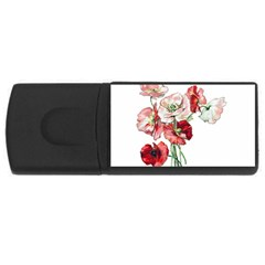 Flowers Poppies Poppy Vintage Rectangular Usb Flash Drive by Celenk