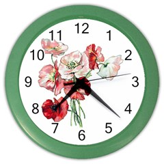 Flowers Poppies Poppy Vintage Color Wall Clocks