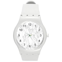 White Background Pattern Tile Round Plastic Sport Watch (m) by Celenk