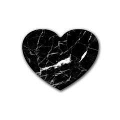 Black Texture Background Stone Rubber Coaster (heart)  by Celenk