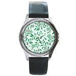 Leaves Foliage Green Wallpaper Round Metal Watch Front
