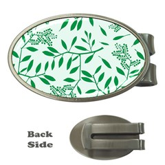 Leaves Foliage Green Wallpaper Money Clips (oval)  by Celenk