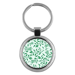 Leaves Foliage Green Wallpaper Key Chains (round)  by Celenk