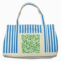 Leaves Foliage Green Wallpaper Striped Blue Tote Bag by Celenk