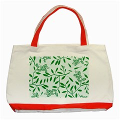 Leaves Foliage Green Wallpaper Classic Tote Bag (red) by Celenk
