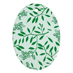 Leaves Foliage Green Wallpaper Oval Ornament (two Sides) by Celenk