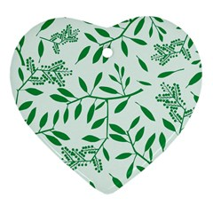 Leaves Foliage Green Wallpaper Heart Ornament (two Sides) by Celenk