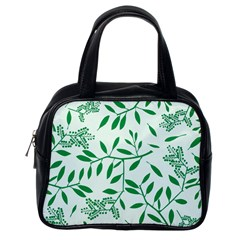 Leaves Foliage Green Wallpaper Classic Handbags (one Side) by Celenk