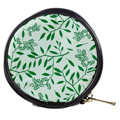 Leaves Foliage Green Wallpaper Mini Makeup Bags by Celenk