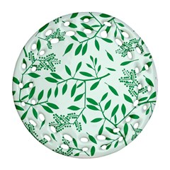 Leaves Foliage Green Wallpaper Ornament (round Filigree) by Celenk