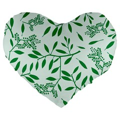 Leaves Foliage Green Wallpaper Large 19  Premium Heart Shape Cushions by Celenk