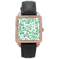 Leaves Foliage Green Wallpaper Rose Gold Leather Watch  by Celenk