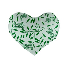Leaves Foliage Green Wallpaper Standard 16  Premium Flano Heart Shape Cushions by Celenk