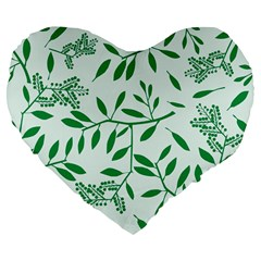 Leaves Foliage Green Wallpaper Large 19  Premium Flano Heart Shape Cushions by Celenk