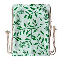 Leaves Foliage Green Wallpaper Drawstring Bag (large) by Celenk