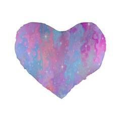 Space Psychedelic Colorful Color Standard 16  Premium Flano Heart Shape Cushions by Celenk