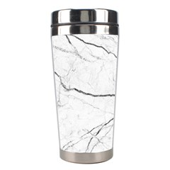 White Background Pattern Tile Stainless Steel Travel Tumblers by Celenk