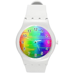 Colors Rainbow Chakras Style Round Plastic Sport Watch (m) by Celenk
