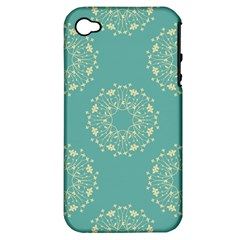 Floral Vintage Royal Frame Pattern Apple Iphone 4/4s Hardshell Case (pc+silicone) by Celenk