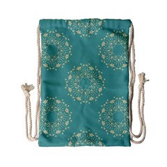 Floral Vintage Royal Frame Pattern Drawstring Bag (small) by Celenk