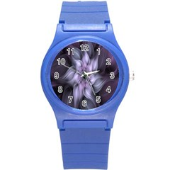 Fractal Flower Lavender Art Round Plastic Sport Watch (s) by Celenk