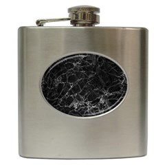 Black Texture Background Stone Hip Flask (6 Oz)