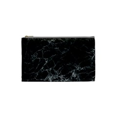 Black Texture Background Stone Cosmetic Bag (small)  by Celenk