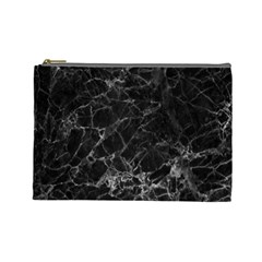 Black Texture Background Stone Cosmetic Bag (large)  by Celenk