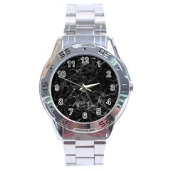 Black Texture Background Stone Stainless Steel Analogue Watch by Celenk