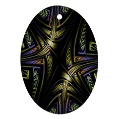 Fractal Braids Texture Pattern Ornament (oval) by Celenk