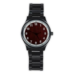 Grunge Brown Abstract Texture Stainless Steel Round Watch