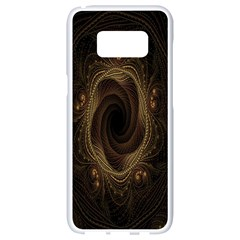 Beads Fractal Abstract Pattern Samsung Galaxy S8 White Seamless Case by Celenk