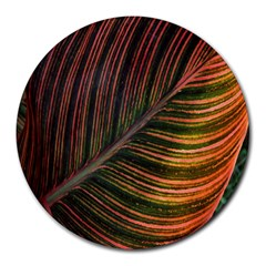 Leaf Colorful Nature Orange Season Round Mousepads by Celenk