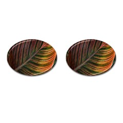 Leaf Colorful Nature Orange Season Cufflinks (oval) by Celenk