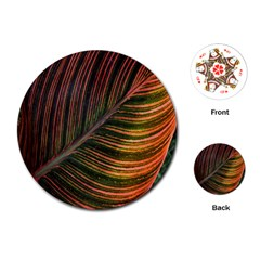 Leaf Colorful Nature Orange Season Playing Cards (round)  by Celenk