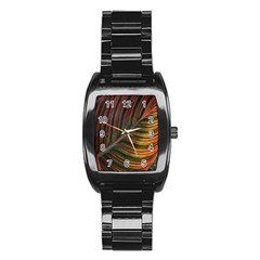 Leaf Colorful Nature Orange Season Stainless Steel Barrel Watch by Celenk