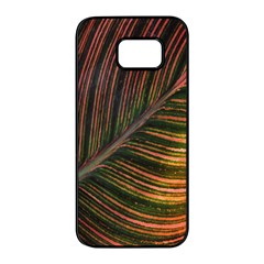 Leaf Colorful Nature Orange Season Samsung Galaxy S7 Edge Black Seamless Case by Celenk